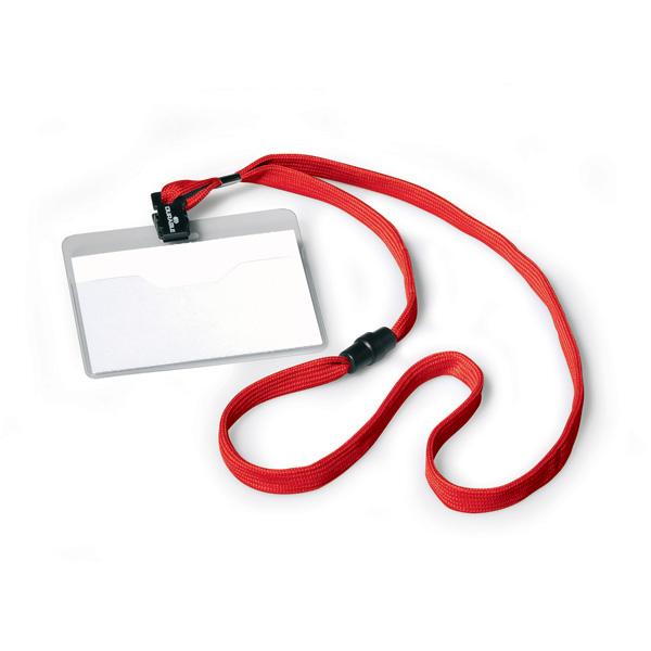 Бейдж горизонтальный 60х90мм на красном разъёмном шнурке, DURABLE, 8139/03
