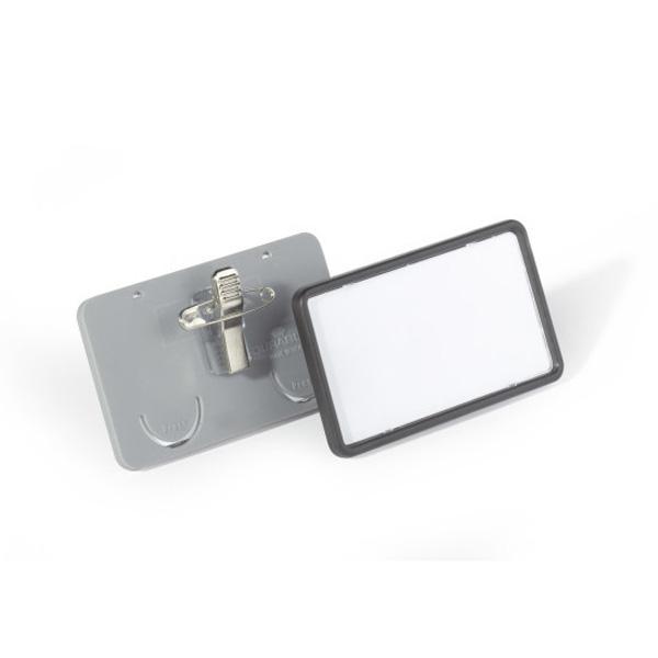 Бейдж с булавкой и зажимом 40х75мм, в рамке, DURABLE CLIP CARD, серый, 8130/10