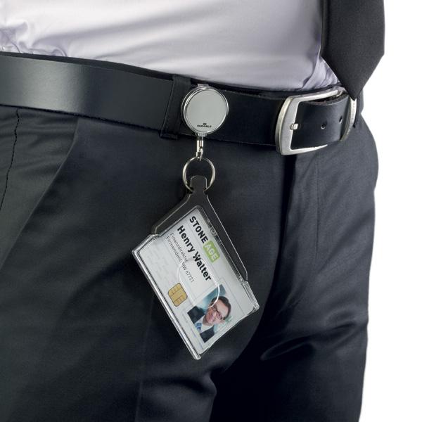 Держатель для пропуска 54х85мм на рулетке 80см, DURABLE CARD HOLDER DELUXE PRO, акрил, 8307/58