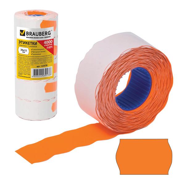 Этикет-лента волна 26х12мм, оранжевая, 5 рулонов по 800шт, Brauberg, 123578