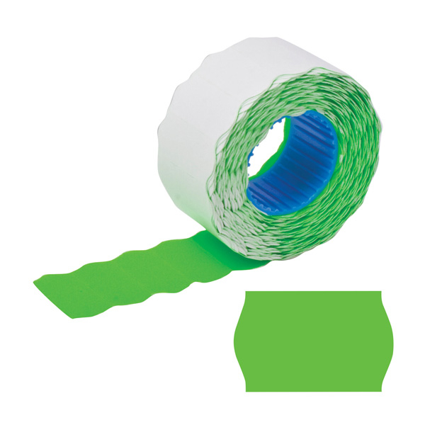 Этикет-лента волна 26х12мм, зелёная, 5 рулонов по 800шт, Brauberg, 123579