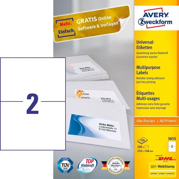 Этикетки самоклеящиеся 210х148мм Avery Zweckform ZW03655 100л белые (2 этикетки на лист А4)