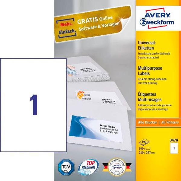 Этикетки самоклеящиеся 210х297мм Avery Zweckform ZW03478 100л белые (1 этикетка на лист А4)
