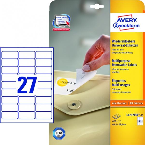 Этикетки самоклеящиеся 63,5х29,6мм Avery Zweckform ZWL4737REV-25 25л белые (27 этикеток на листе А4)