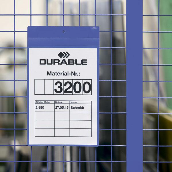 Карман для маркировки на неодимовом магните DURABLE 1748/07, А4 горизонтальный, синий