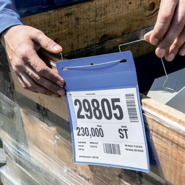 Карман для маркировки с подвесом DURABLE 1754/07, А4 горизонтальный, синий