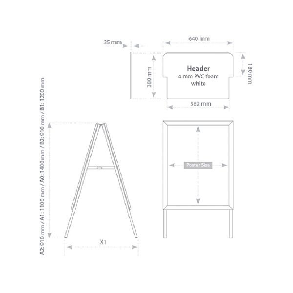 Напольная двусторонняя рекламная стойка (штендер) с клик-системой, формат А1, 2x3, TZS/A1