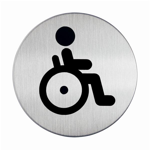 "Пиктограмма ""WC для инвалидов"", настенная табличка, DURABLE, диаметр 83мм, 4906/23"