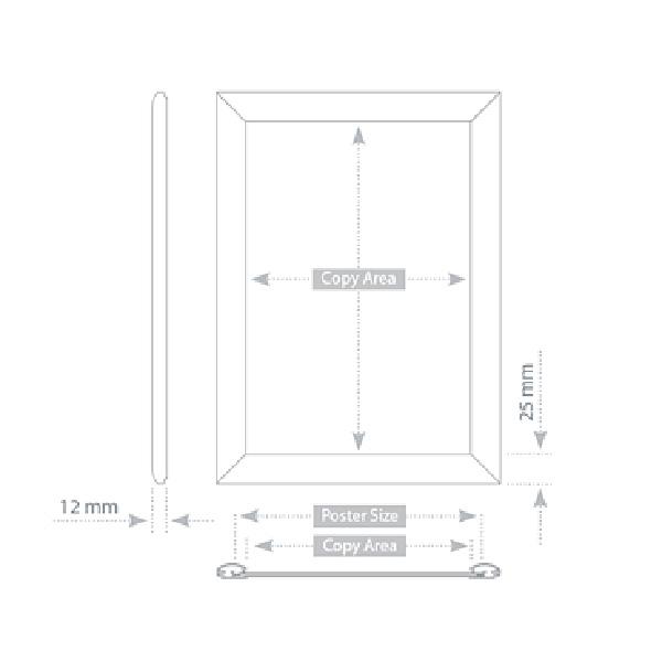 Рамка для постеров А4 настенная с клик-профилем 25мм, 2x3, TZW25/A4BG