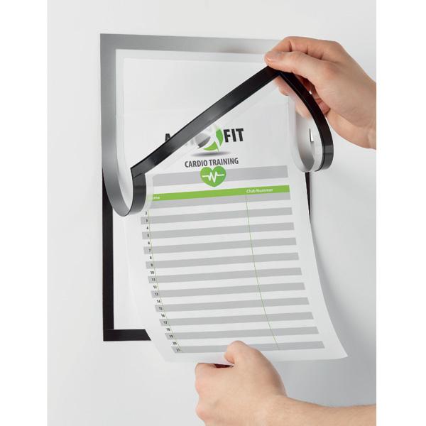 Рамка информационная магнитная А4 DURABLE Duraframe® Note, самоклеящаяся с окном для записей, чёрный, 4993/01