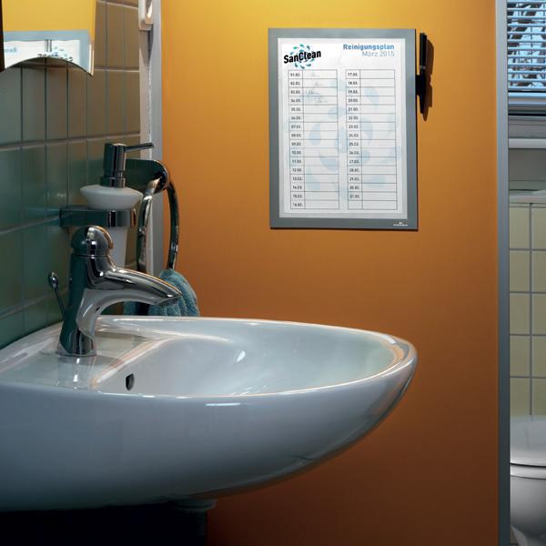 Рамка информационная магнитная А4 DURABLE Duraframe® Note, самоклеящаяся с окном для записей, серебристая, 4993/23