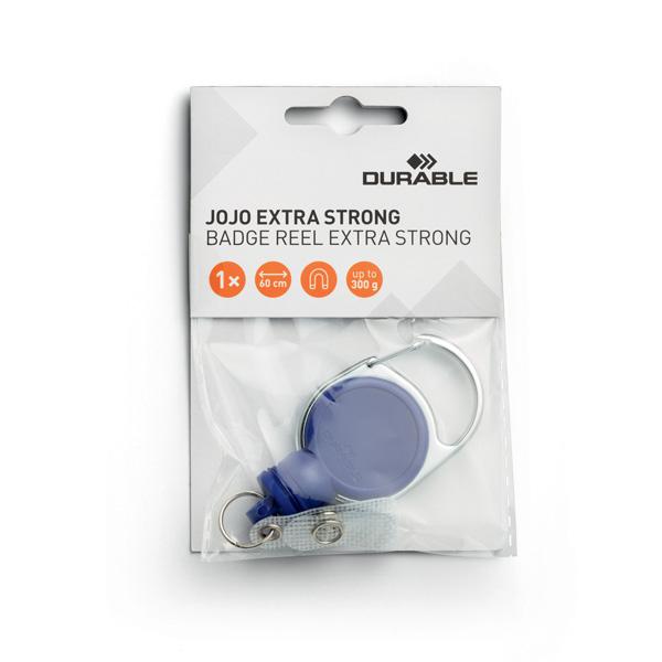 Рулетка-брелок DURABLE EXTRA STRONG, для пропусков, ключей, до 300гр, 60см, 8329/07, тёмно-синяя