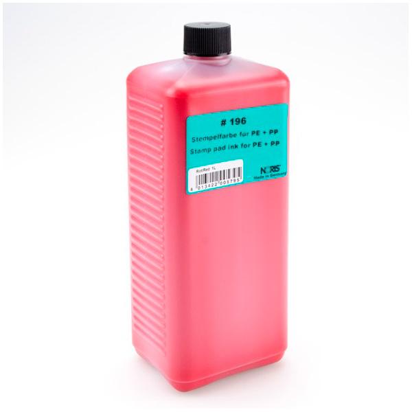 Штемпельная краска для полиэтилена / полипропилена 1000мл красная Noris 196 E