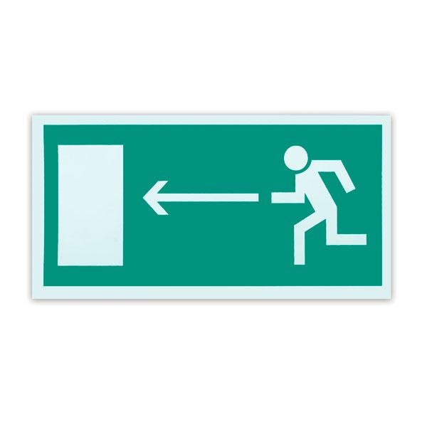 Знак эвакуационный Направление к эвакуационному выходу налево Е04, 300х150мм, самоклеящийся, фотолюминесцентный