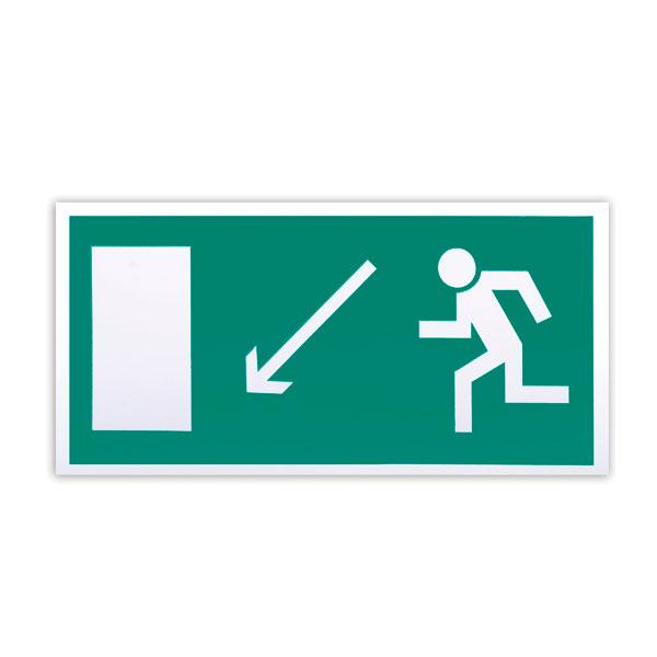 """Знак эвакуационный """"Направление к эвакуационному выходу налево вниз"""" Е08, 300х150мм, самоклеящийся, фотолюминесцентный"""