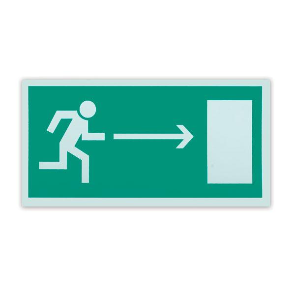 Знак эвакуационный Направление к эвакуационному выходу направо Е03, 300х150мм, самоклеящийся, фотолюминесцентный