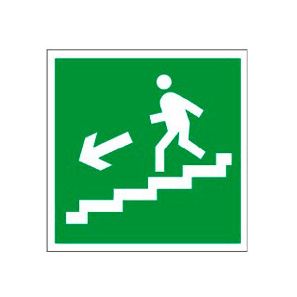 """Знак эвакуационный """"Направление к эвакуационному выходу по лестнице НАЛЕВО вниз"""" Е14, 200х200мм, самоклеящийся"""