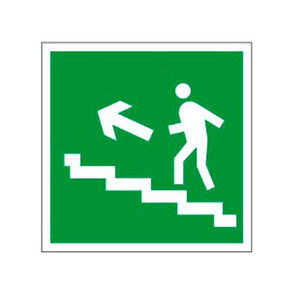 """Знак эвакуационный """"Направление к эвакуационному выходу по лестнице НАЛЕВО вверх"""" Е16, 200х200мм, самоклеящийся"""