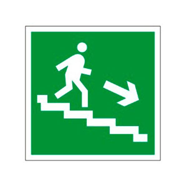 """Знак эвакуационный """"Направление к эвакуационному выходу по лестнице НАПРАВО вниз"""" Е13, 200х200мм, самоклеящийся"""