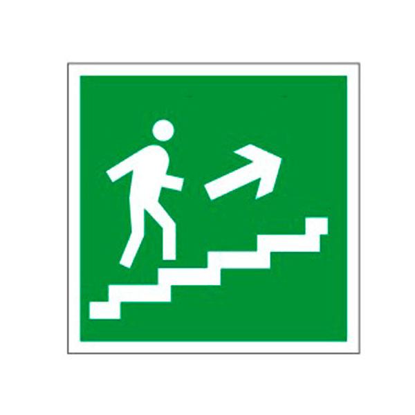 """Знак эвакуационный """"Направление к эвакуационному выходу по лестнице НАПРАВО вверх"""" Е15, 200х200мм, самоклеящийся"""