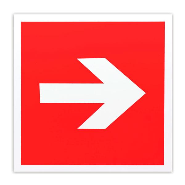Знак пожарной безопасности Направляющая стрелка F01-01, 200х200мм, самоклеящийся, фотолюминесцентный