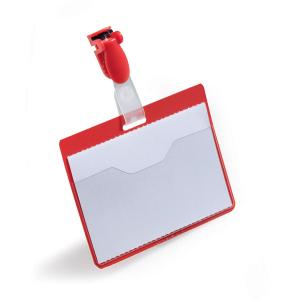 Бейдж горизонтальный 60х90мм, DURABLE, с поворотным клипом, красный, 8106/03