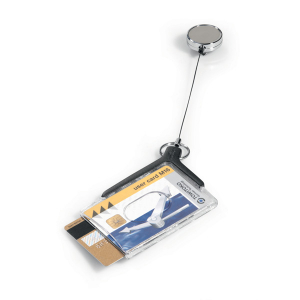 Держатель для 2 пропусков 54х85мм на рулетке 80см, DURABLE CARD HOLDER DELUXE PRO, акрил, 8308/58