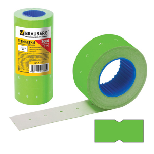 Этикет-лента прямоугольная 21х12мм, зелёная, 5 рулонов по 600шт, Brauberg, 123571