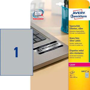 Этикетки самоклеящиеся 210х297мм Avery Zweckform ZWL6013 100л серебристые (1 этикетка на листе А4)