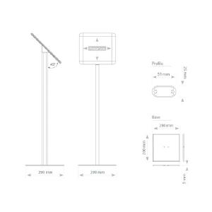 Напольная рекламная стойка с клик-рамкой А4, горизонтальная, 100см, 2x3, TZ100/A4H