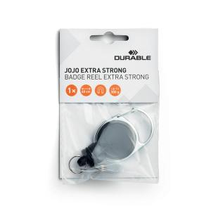 Рулетка-брелок DURABLE EXTRA STRONG, для пропусков, ключей, до 300гр, 60см, 8329/01, чёрная