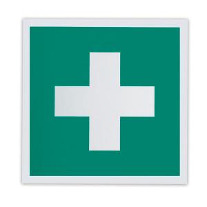 """Знак """"Аптечка первой медицинской помощи"""" ЕС01, 200х200мм, самоклеящийся, фотолюминесцентный"""