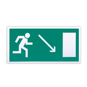 """Знак эвакуационный """"Направление к эвакуационному выходу направо вниз"""" Е07, 300х150мм, самоклеящийся, фотолюминесцентный"""